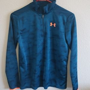 UA Dark Teal and Neon Orange 3/4 Zip